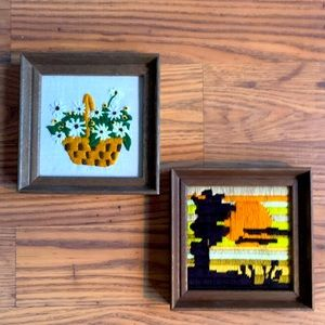 Vintage 70s stitched framed pictures wall hangings